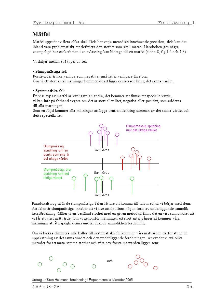 Fysikexperiment 5p Föreläsning 1 2005-08-26 05 Utdrag ur Sten Hellmans föreläsning i Experimentella Metoder 2005 Mätfel uppstår av flera olika skäl.