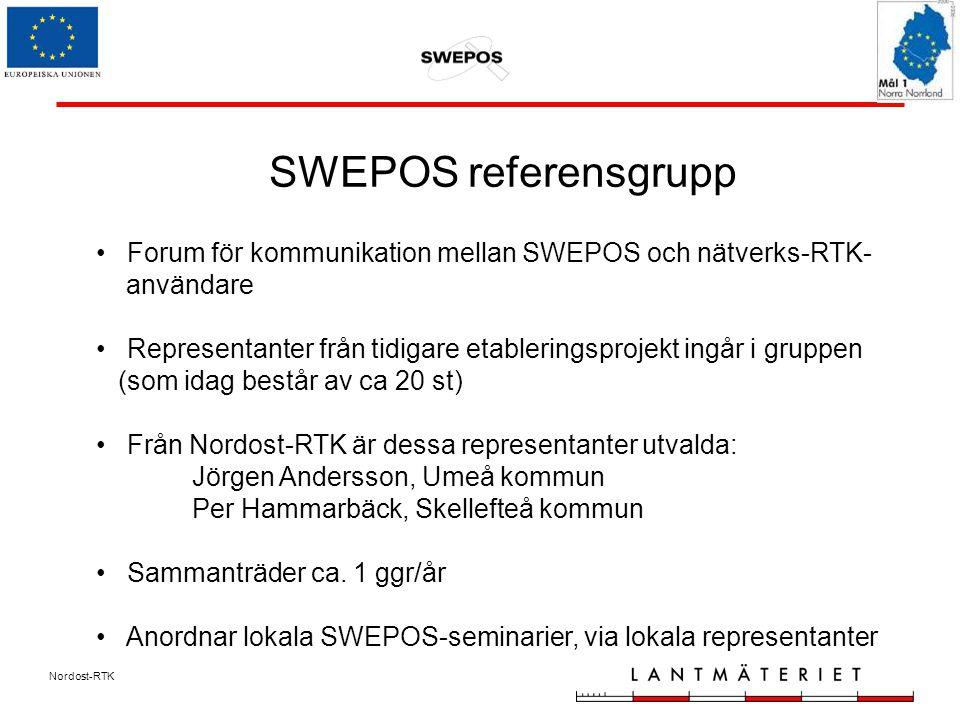 Nordost-RTK SWEPOS referensgrupp Forum för kommunikation mellan SWEPOS och nätverks-RTK- användare Representanter från tidigare etableringsprojekt ingår i gruppen (som idag består av ca 20 st) Från Nordost-RTK är dessa representanter utvalda: Jörgen Andersson, Umeå kommun Per Hammarbäck, Skellefteå kommun Sammanträder ca.