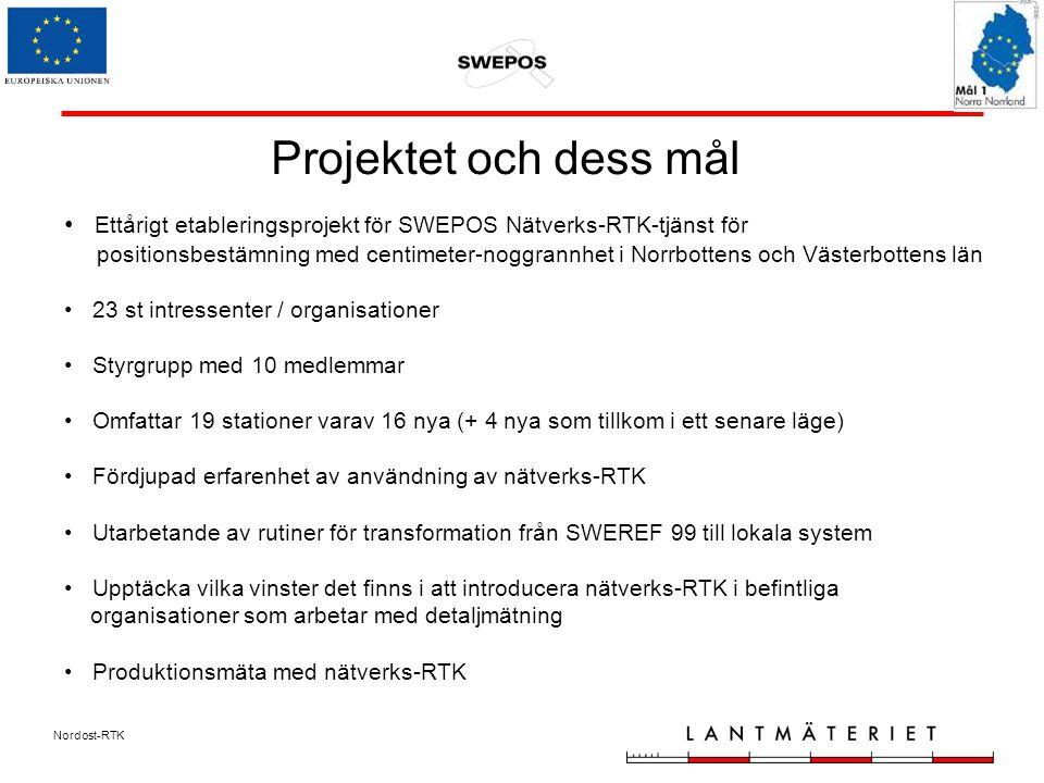 Nordost-RTK Projektet och dess mål Ettårigt etableringsprojekt för SWEPOS Nätverks-RTK-tjänst för positionsbestämning med centimeter-noggrannhet i Norrbottens och Västerbottens län 23 st intressenter / organisationer Styrgrupp med 10 medlemmar Omfattar 19 stationer varav 16 nya (+ 4 nya som tillkom i ett senare läge) Fördjupad erfarenhet av användning av nätverks-RTK Utarbetande av rutiner för transformation från SWEREF 99 till lokala system Upptäcka vilka vinster det finns i att introducera nätverks-RTK i befintliga organisationer som arbetar med detaljmätning Produktionsmäta med nätverks-RTK