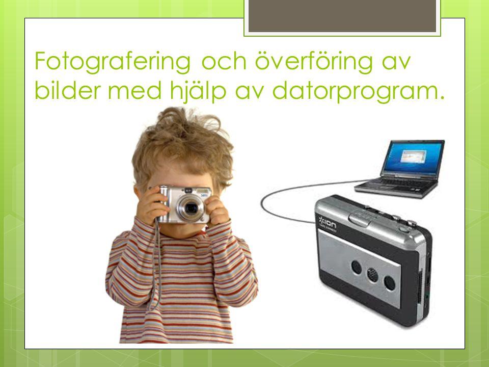 Fotografering och överföring av bilder med hjälp av datorprogram.