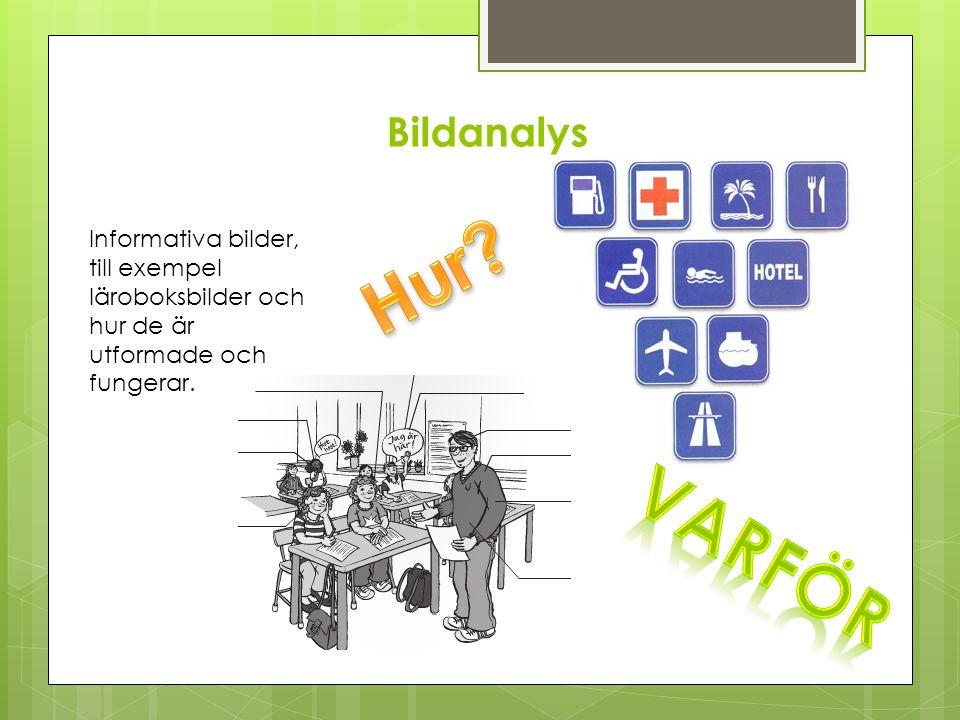 Bildanalys Informativa bilder, till exempel läroboksbilder och hur de är utformade och fungerar.