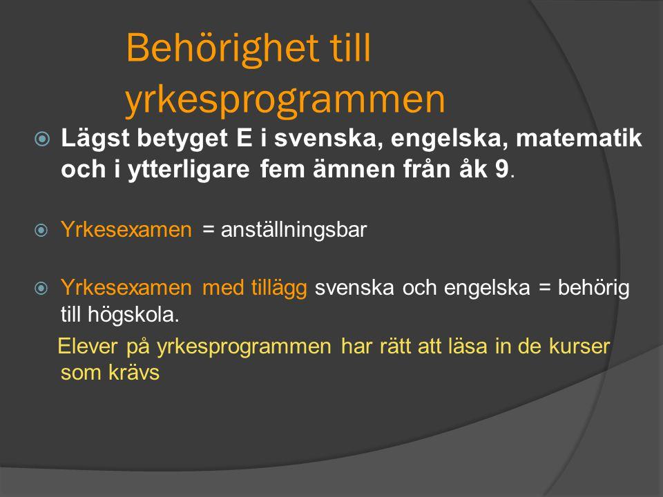 Behörighet till yrkesprogrammen  Lägst betyget E i svenska, engelska, matematik och i ytterligare fem ämnen från åk 9.  Yrkesexamen = anställningsba