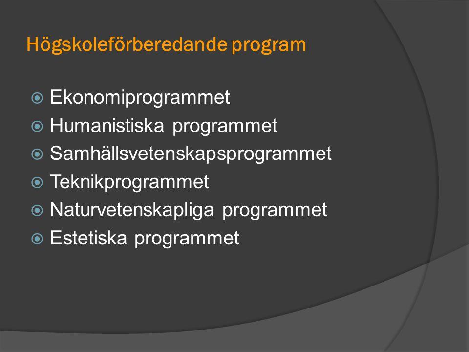 Högskoleförberedande program  Ekonomiprogrammet  Humanistiska programmet  Samhällsvetenskapsprogrammet  Teknikprogrammet  Naturvetenskapliga prog