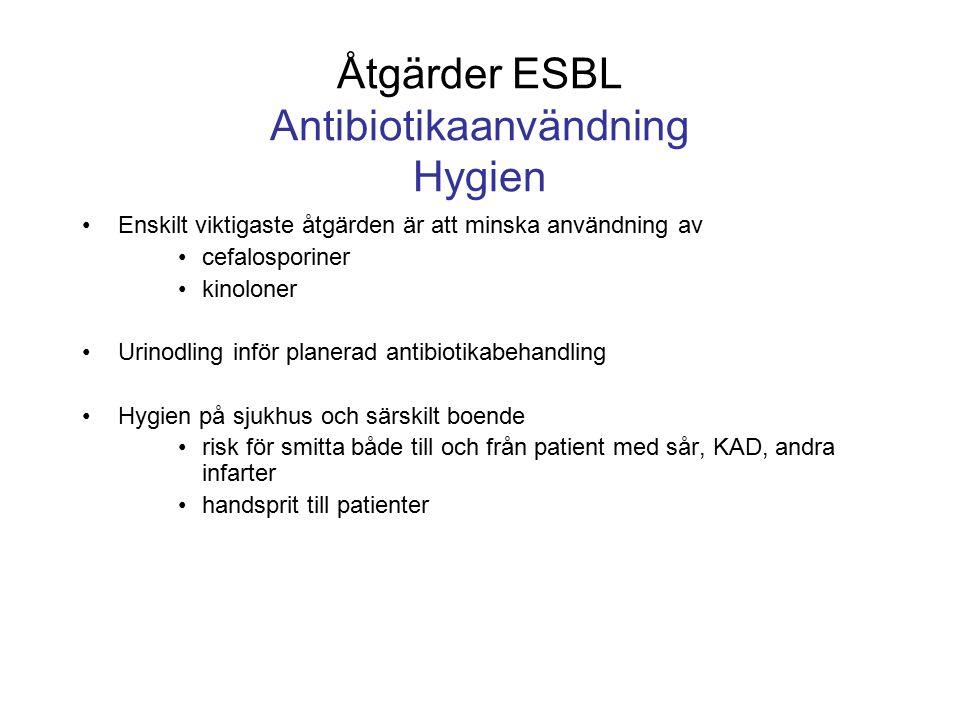 Åtgärder ESBL Antibiotikaanvändning Hygien Enskilt viktigaste åtgärden är att minska användning av cefalosporiner kinoloner Urinodling inför planerad