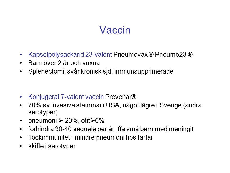 Vaccin Kapselpolysackarid 23-valent Pneumovax ® Pneumo23 ® Barn över 2 år och vuxna Splenectomi, svår kronisk sjd, immunsupprimerade Konjugerat 7-vale