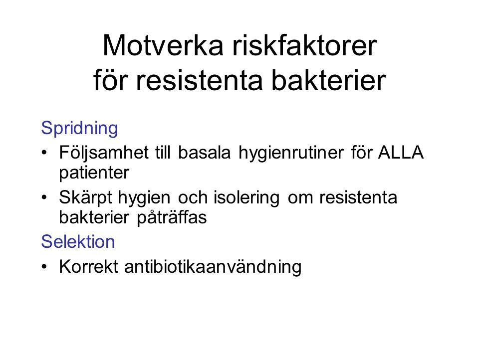 Motverka riskfaktorer för resistenta bakterier Spridning Följsamhet till basala hygienrutiner för ALLA patienter Skärpt hygien och isolering om resist