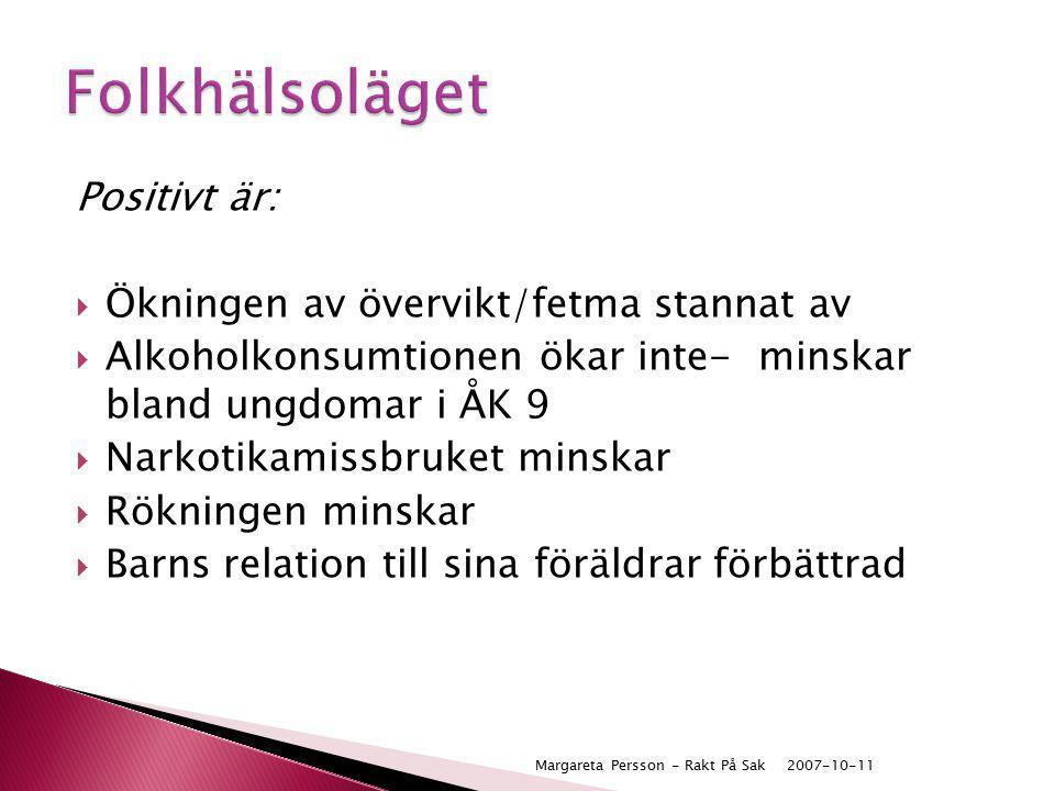 Positivt är:  Ökningen av övervikt/fetma stannat av  Alkoholkonsumtionen ökar inte- minskar bland ungdomar i ÅK 9  Narkotikamissbruket minskar  Rö