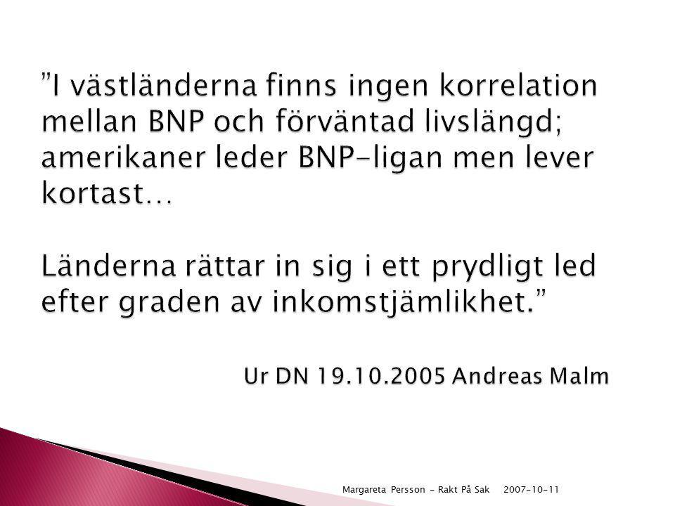 """2007-10-11Margareta Persson - Rakt På Sak """"I västländerna finns ingen korrelation mellan BNP och förväntad livslängd; amerikaner leder BNP-ligan men l"""