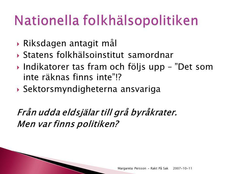 """ Riksdagen antagit mål  Statens folkhälsoinstitut samordnar  Indikatorer tas fram och följs upp – """"Det som inte räknas finns inte""""!?  Sektorsmyndi"""