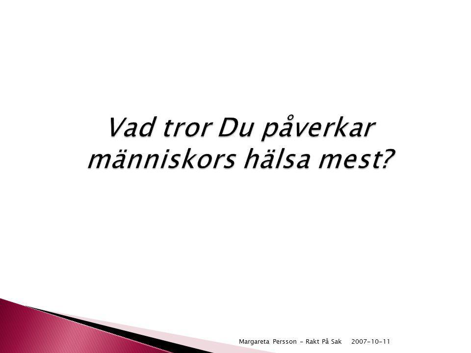 2007-10-11Margareta Persson - Rakt På Sak Vad tror Du påverkar människors hälsa mest?