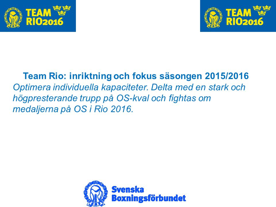 Team Rio: inriktning och fokus säsongen 2015/2016 Optimera individuella kapaciteter.