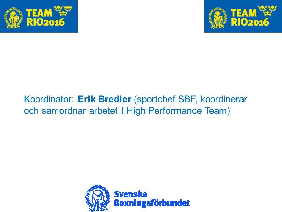 Koordinator: Erik Bredler (sportchef SBF, koordinerar och samordnar arbetet I High Performance Team)