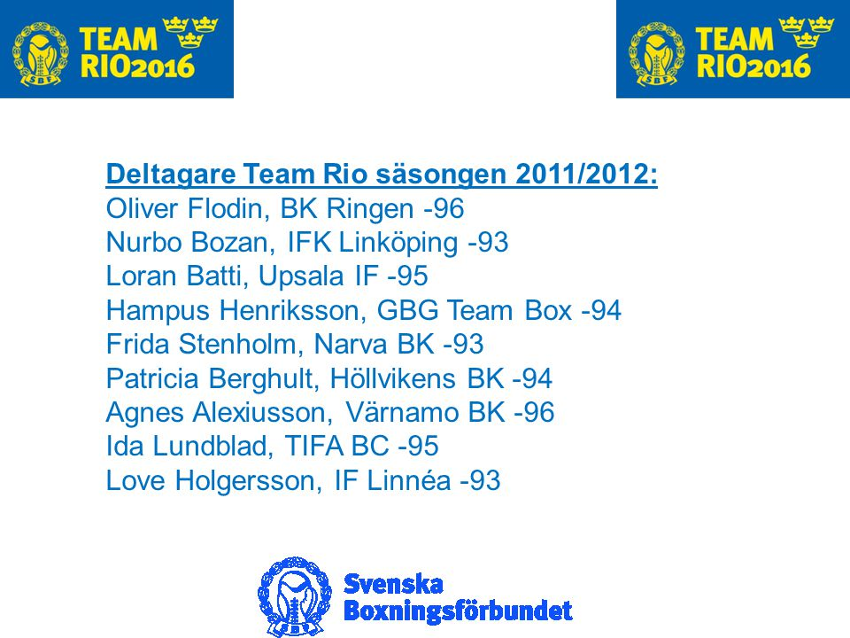 Förbundstränare Ansvariga förbundstränare säsongen 2011/2012: Santiago Nieva och Katrin Enoksson i samarbete med övriga förbundstränare.