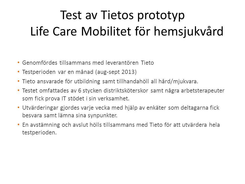 Test av Tietos prototyp Life Care Mobilitet för hemsjukvård Genomfördes tillsammans med leverantören Tieto Testperioden var en månad (aug-sept 2013) Tieto ansvarade för utbildning samt tillhandahöll all hård/mjukvara.