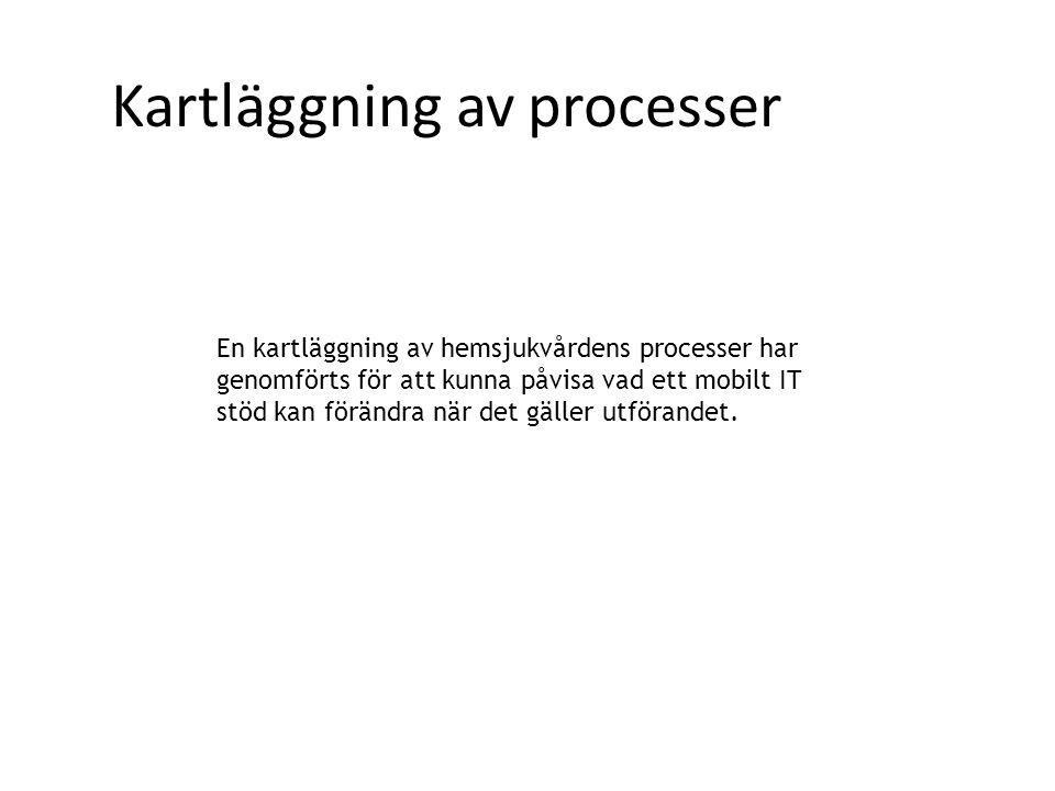 Kartläggning av processer En kartläggning av hemsjukvårdens processer har genomförts för att kunna påvisa vad ett mobilt IT stöd kan förändra när det gäller utförandet.