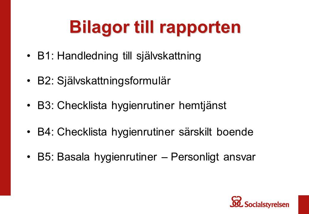 Bilagor till rapporten B1: Handledning till självskattning B2: Självskattningsformulär B3: Checklista hygienrutiner hemtjänst B4: Checklista hygienrutiner särskilt boende B5: Basala hygienrutiner – Personligt ansvar