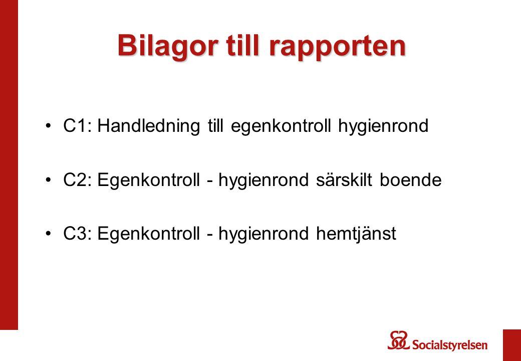Bilagor till rapporten C1: Handledning till egenkontroll hygienrond C2: Egenkontroll - hygienrond särskilt boende C3: Egenkontroll - hygienrond hemtjänst