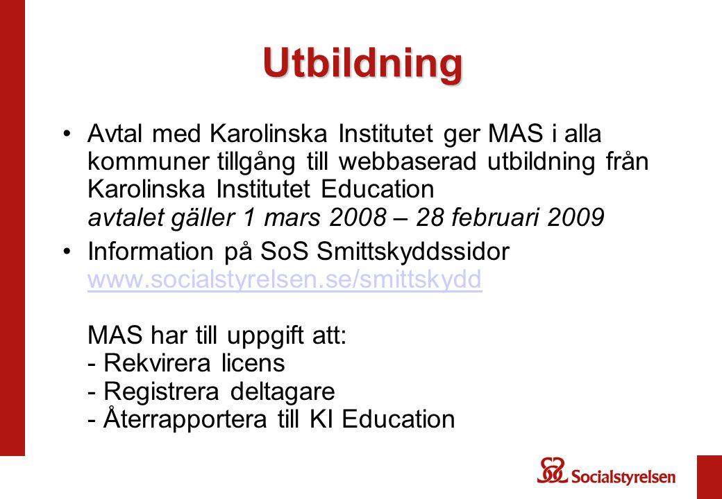 Utbildning Avtal med Karolinska Institutet ger MAS i alla kommuner tillgång till webbaserad utbildning från Karolinska Institutet Education avtalet gä