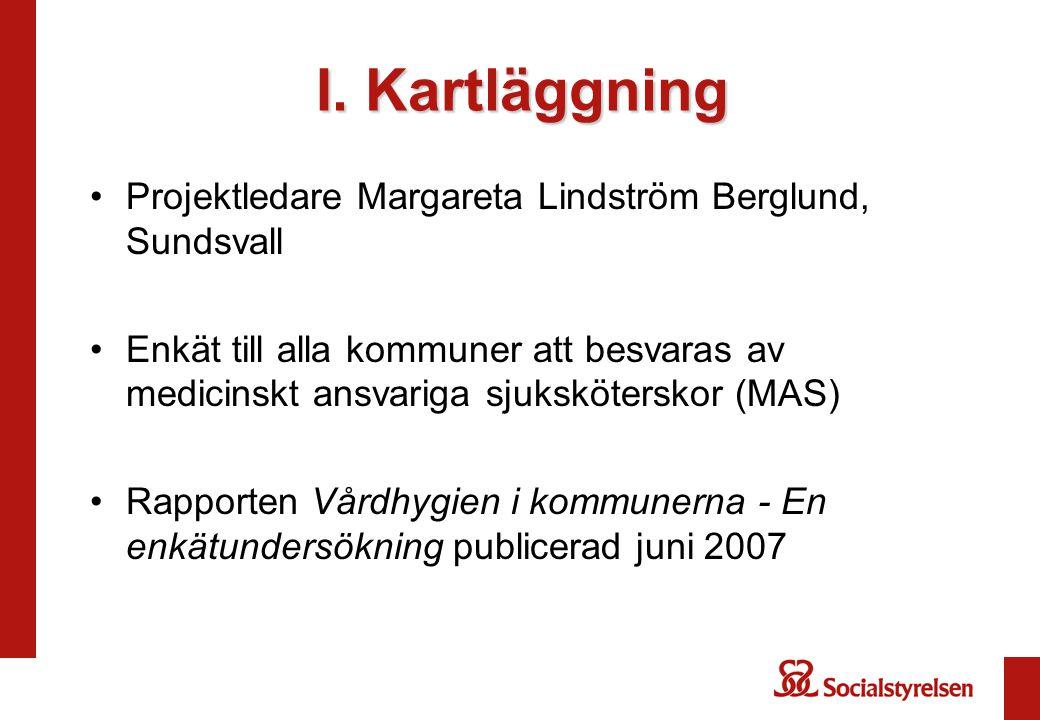 I. Kartläggning Projektledare Margareta Lindström Berglund, Sundsvall Enkät till alla kommuner att besvaras av medicinskt ansvariga sjuksköterskor (MA
