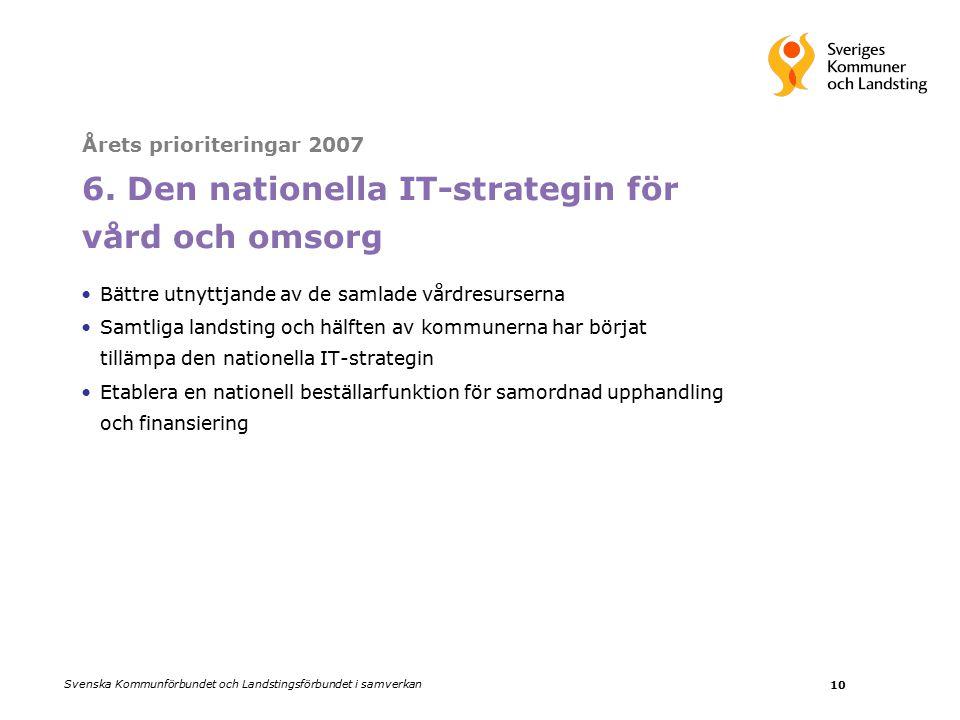 Svenska Kommunförbundet och Landstingsförbundet i samverkan 10 Årets prioriteringar 2007 6.