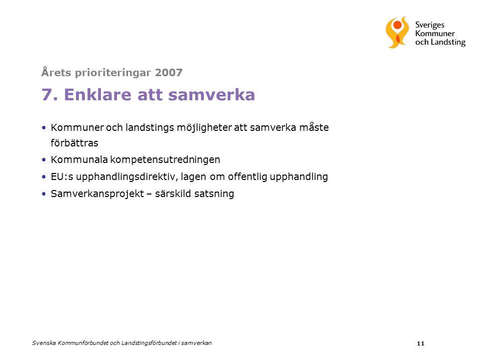 Svenska Kommunförbundet och Landstingsförbundet i samverkan 11 Årets prioriteringar 2007 7.