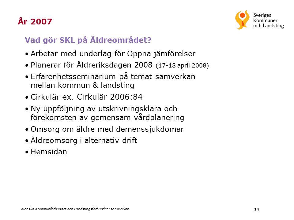 Svenska Kommunförbundet och Landstingsförbundet i samverkan 14 År 2007 Vad gör SKL på Äldreområdet.