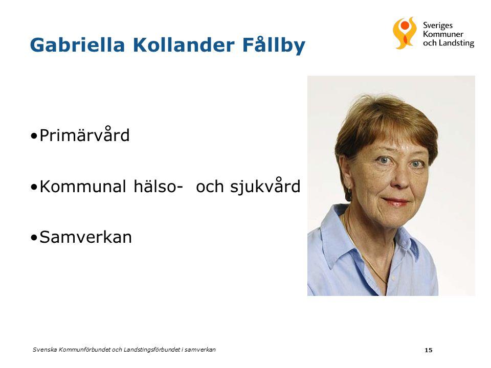 Svenska Kommunförbundet och Landstingsförbundet i samverkan 15 Gabriella Kollander Fållby Primärvård Kommunal hälso- och sjukvård Samverkan