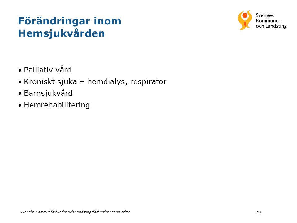 Svenska Kommunförbundet och Landstingsförbundet i samverkan 17 Förändringar inom Hemsjukvården Palliativ vård Kroniskt sjuka – hemdialys, respirator Barnsjukvård HemrehabiliteringBarnsjukvård Hemrehabilitering