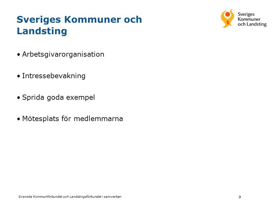 Svenska Kommunförbundet och Landstingsförbundet i samverkan 3 Sveriges Kommuner och Landsting Arbetsgivarorganisation Intressebevakning Sprida goda exempel Mötesplats för medlemmarna