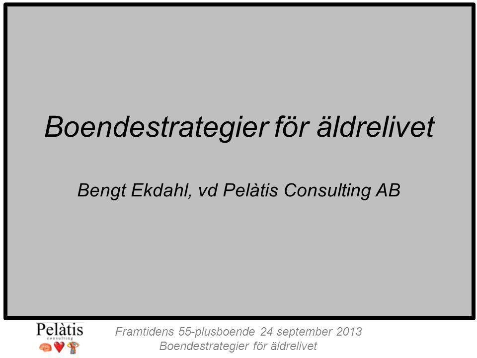 Framtidens 55-plusboende 24 september 2013 Boendestrategier för äldrelivet Bengt Ekdahl, vd Pelàtis Consulting AB