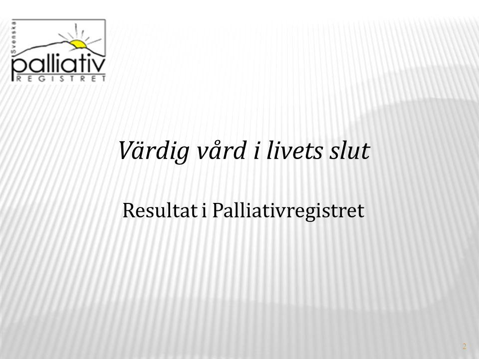 2 Värdig vård i livets slut Resultat i Palliativregistret