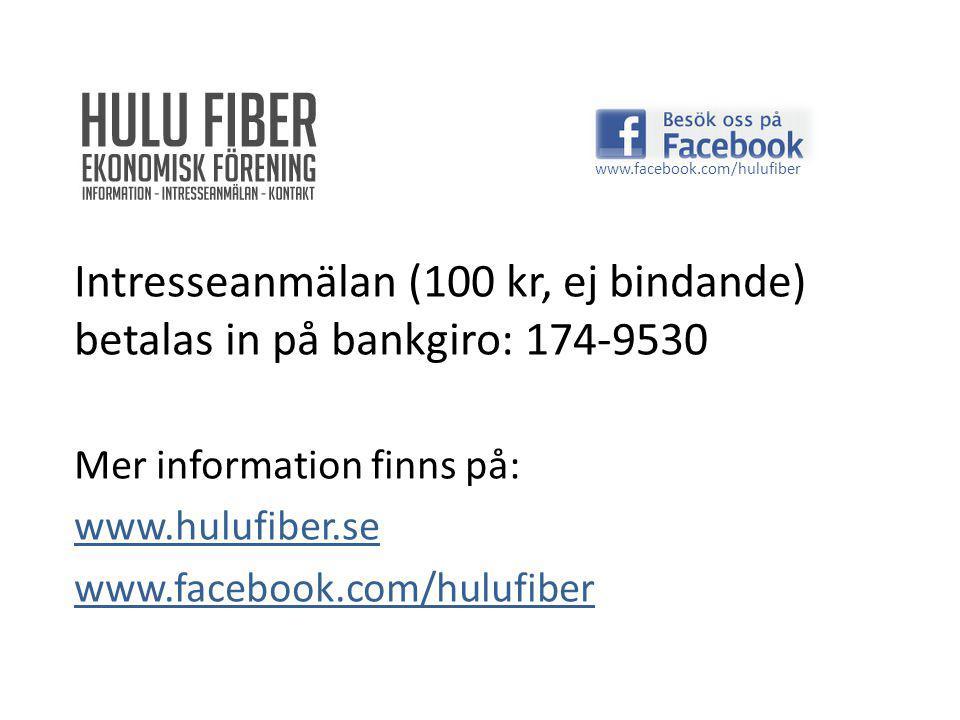 Intresseanmälan (100 kr, ej bindande) betalas in på bankgiro: 174-9530 Mer information finns på: www.hulufiber.se www.facebook.com/hulufiber