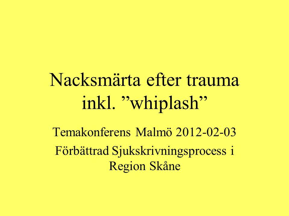 """Nacksmärta efter trauma inkl. """"whiplash"""" Temakonferens Malmö 2012-02-03 Förbättrad Sjukskrivningsprocess i Region Skåne"""