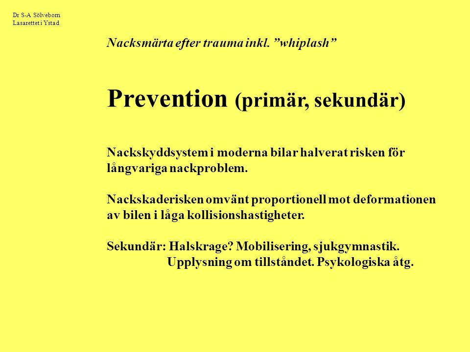 """Dr S-A Sölveborn Lasarettet i Ystad Nacksmärta efter trauma inkl. """"whiplash"""" Prevention (primär, sekundär) Nackskyddsystem i moderna bilar halverat ri"""