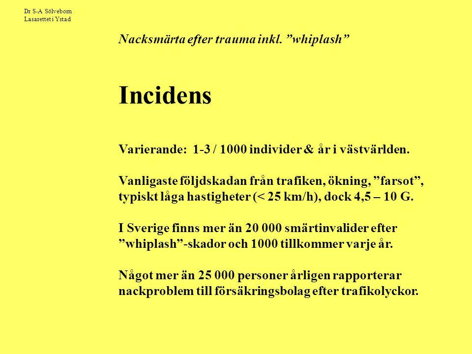 """Dr S-A Sölveborn Lasarettet i Ystad Nacksmärta efter trauma inkl. """"whiplash"""" Incidens Varierande: 1-3 / 1000 individer & år i västvärlden. Vanligaste"""