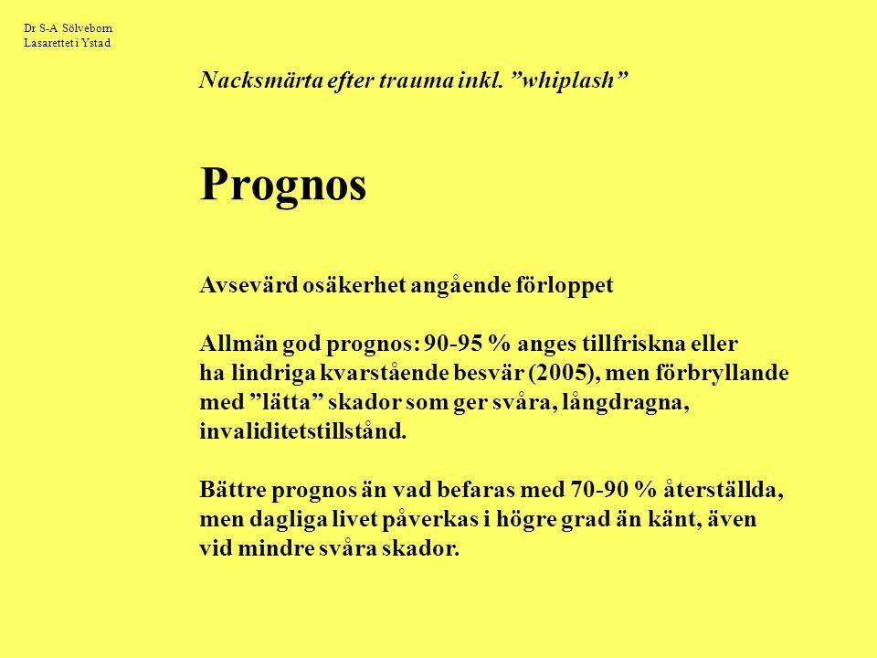 """Dr S-A Sölveborn Lasarettet i Ystad Nacksmärta efter trauma inkl. """"whiplash"""" Prognos Avsevärd osäkerhet angående förloppet Allmän god prognos: 90-95 %"""
