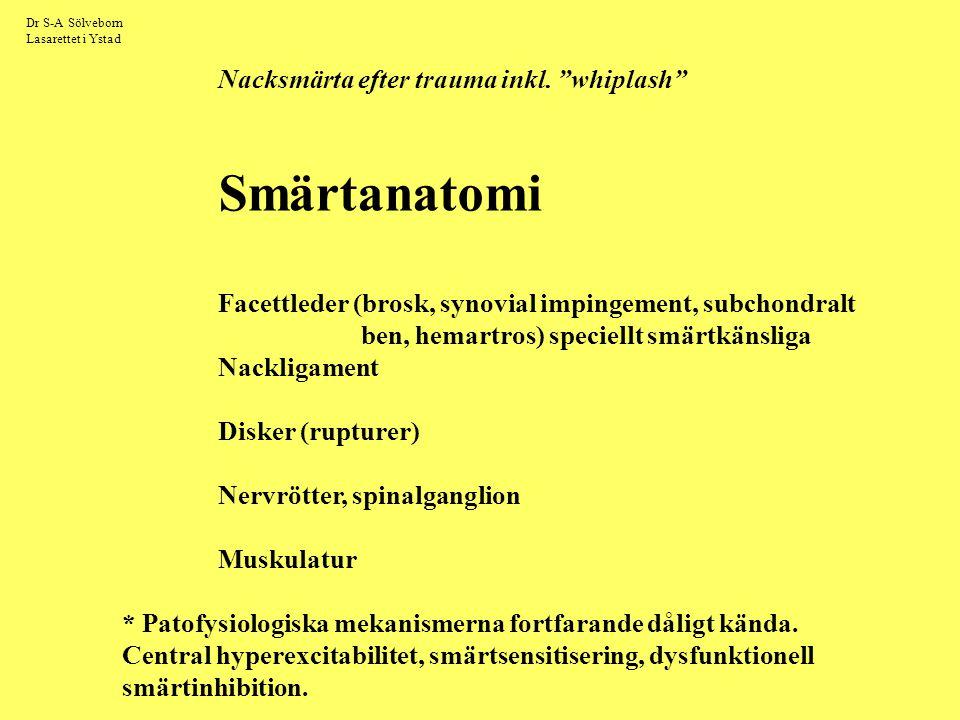 """Dr S-A Sölveborn Lasarettet i Ystad Nacksmärta efter trauma inkl. """"whiplash"""" Smärtanatomi Facettleder (brosk, synovial impingement, subchondralt ben,"""