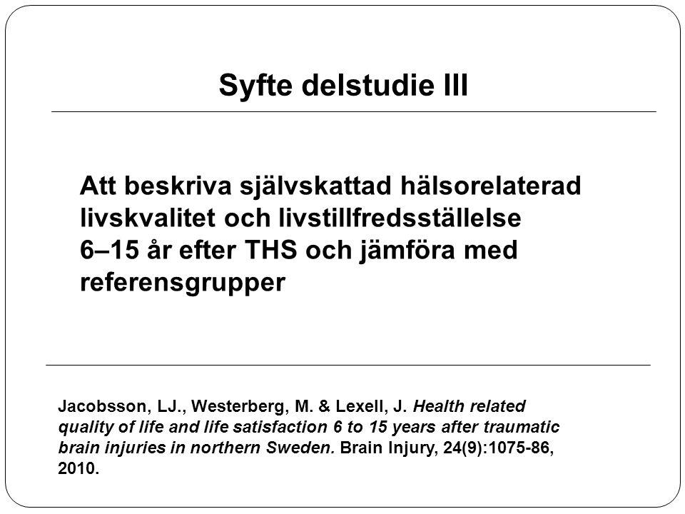 Syfte delstudie III Att beskriva självskattad hälsorelaterad livskvalitet och livstillfredsställelse 6–15 år efter THS och jämföra med referensgrupper