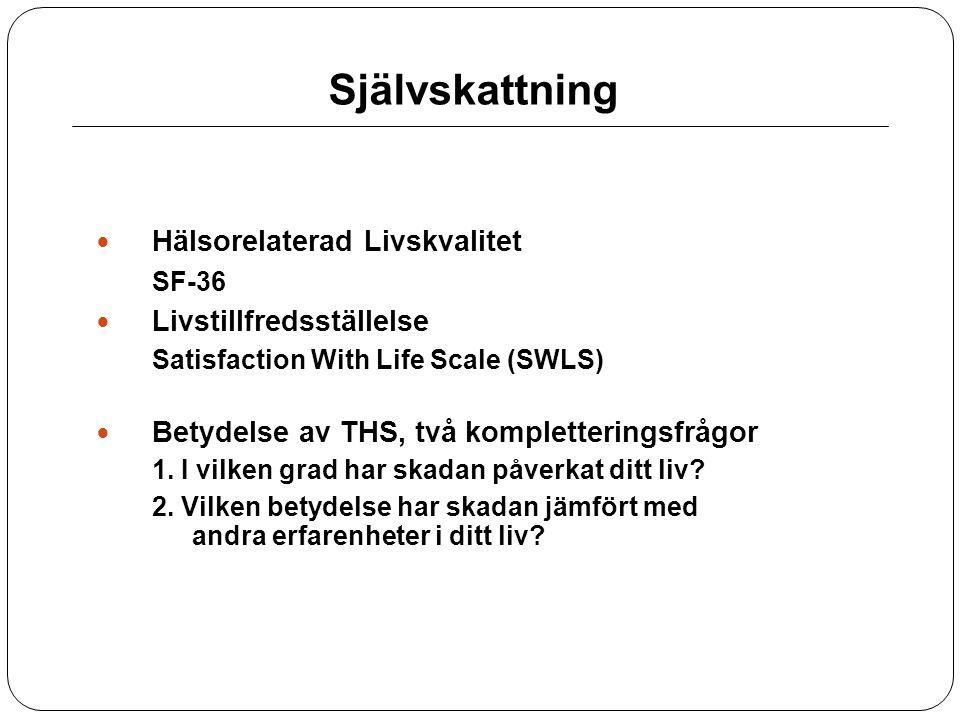 Självskattning Hälsorelaterad Livskvalitet SF-36 Livstillfredsställelse Satisfaction With Life Scale (SWLS) Betydelse av THS, två kompletteringsfrågor