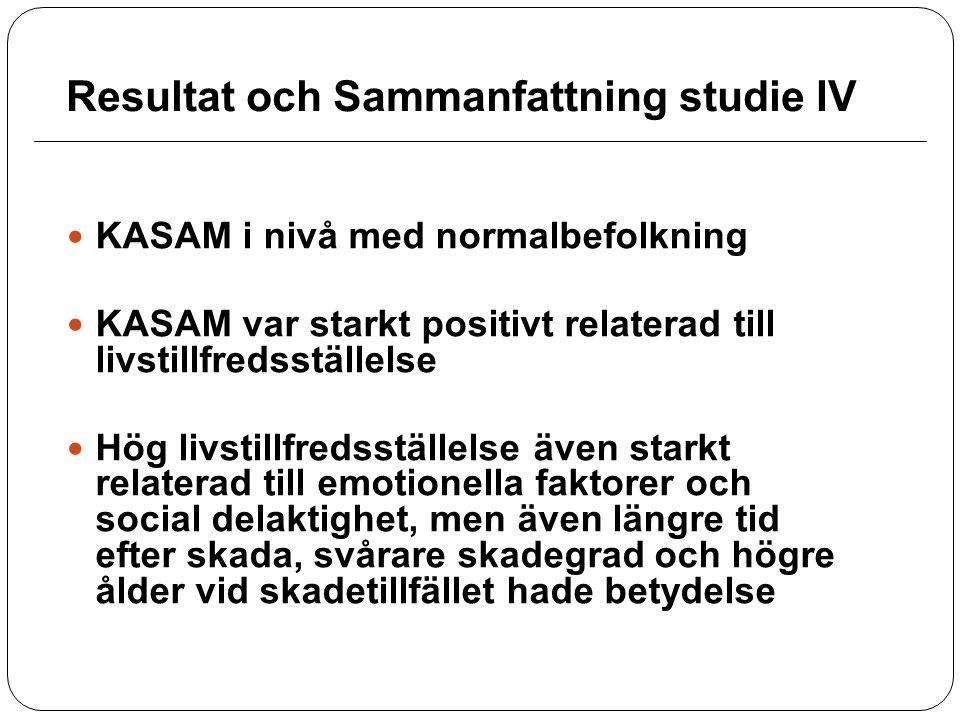 Resultat och Sammanfattning studie IV KASAM i nivå med normalbefolkning KASAM var starkt positivt relaterad till livstillfredsställelse Hög livstillfr