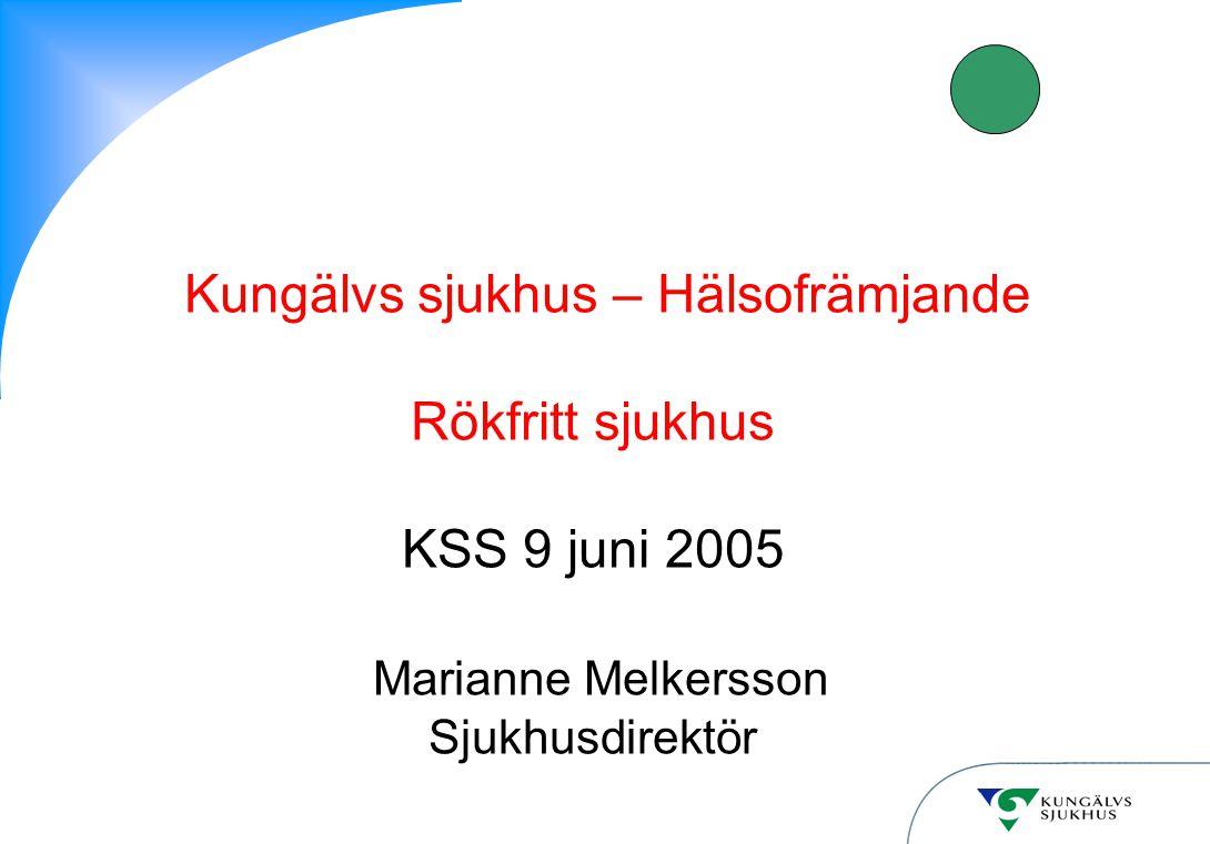 Kungälvs sjukhus – Hälsofrämjande Rökfritt sjukhus KSS 9 juni 2005 Marianne Melkersson Sjukhusdirektör