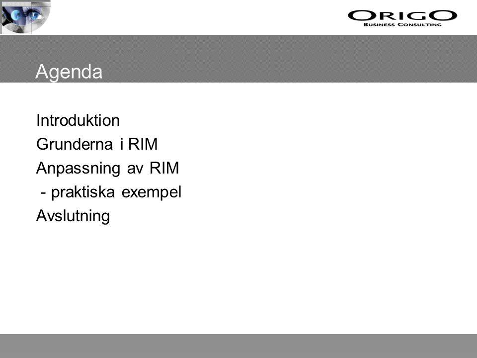 Introduktion Föreläsare – David Knezevic, Origo Business Consulting Korta pass med bensträckarpauser Bakgrund till RIM