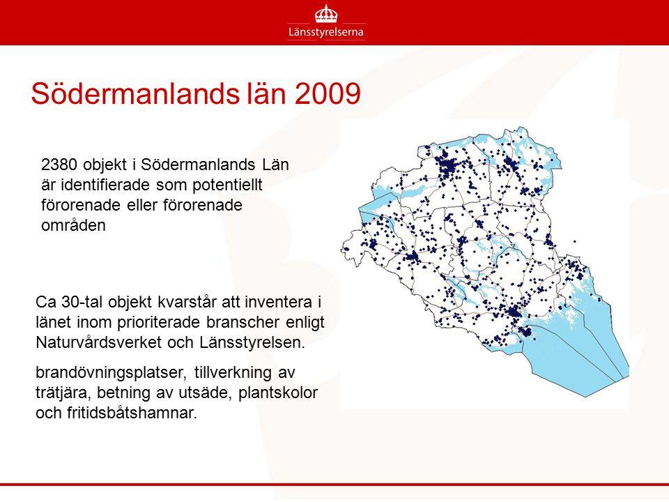 2380 objekt i Södermanlands Län är identifierade som potentiellt förorenade eller förorenade områden Södermanlands län 2009 Ca 30-tal objekt kvarstår