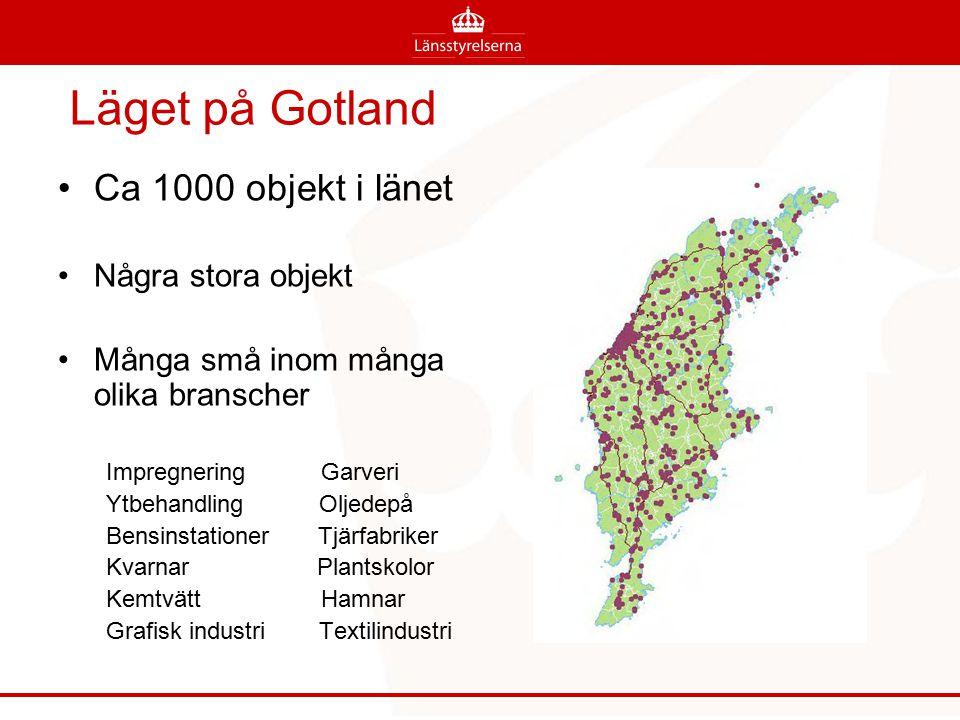 Läget på Gotland Ca 1000 objekt i länet Några stora objekt Många små inom många olika branscher Impregnering Garveri Ytbehandling Oljedepå Bensinstati