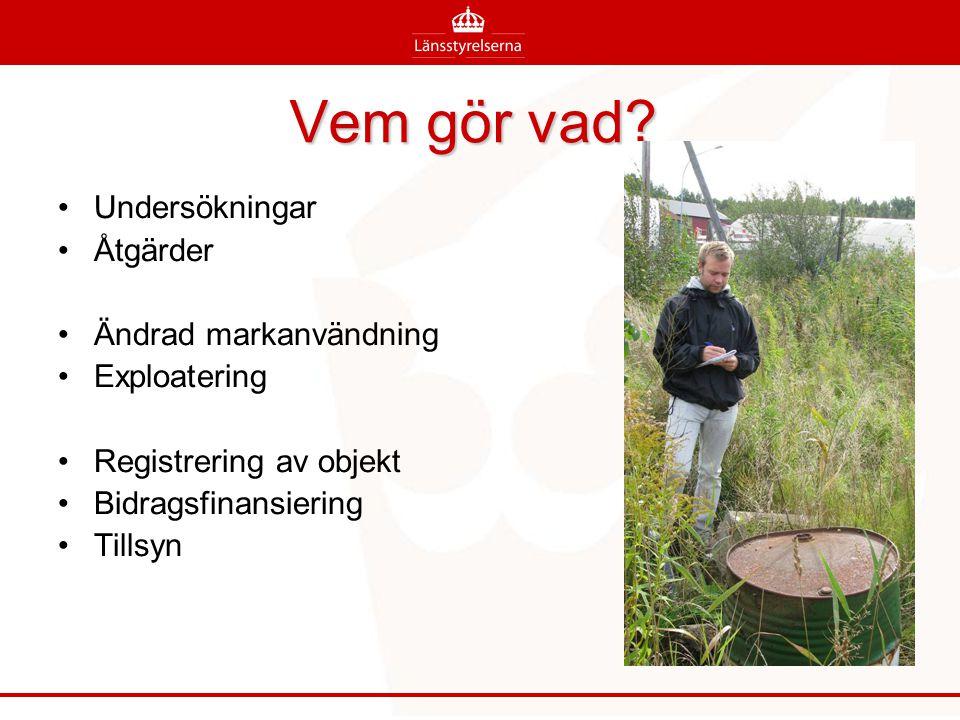 8 100 förorenade områden i Stockholms län 257 är bedömda avseende risk 36 mycket stora risker 91 stora risker 2 000-2 500 kvar att bedöma ( i kvarstående bransbranscher)