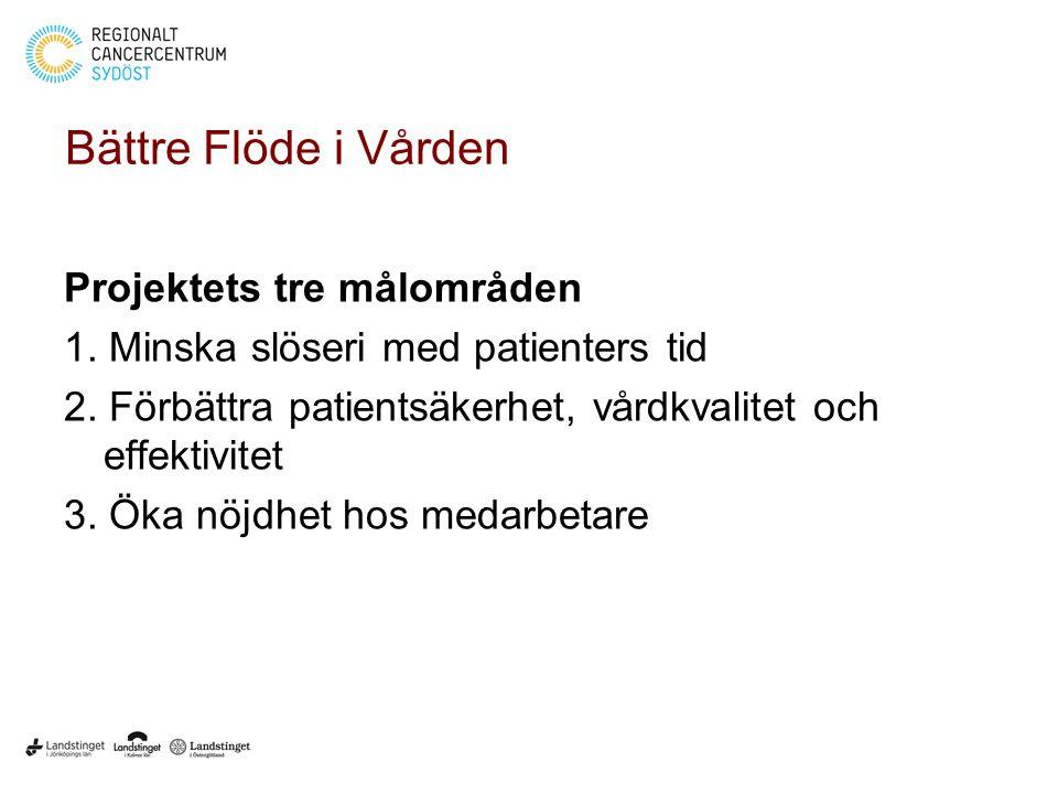 Bättre Flöde i Vården Projektets tre målområden 1. Minska slöseri med patienters tid 2. Förbättra patientsäkerhet, vårdkvalitet och effektivitet 3. Ök