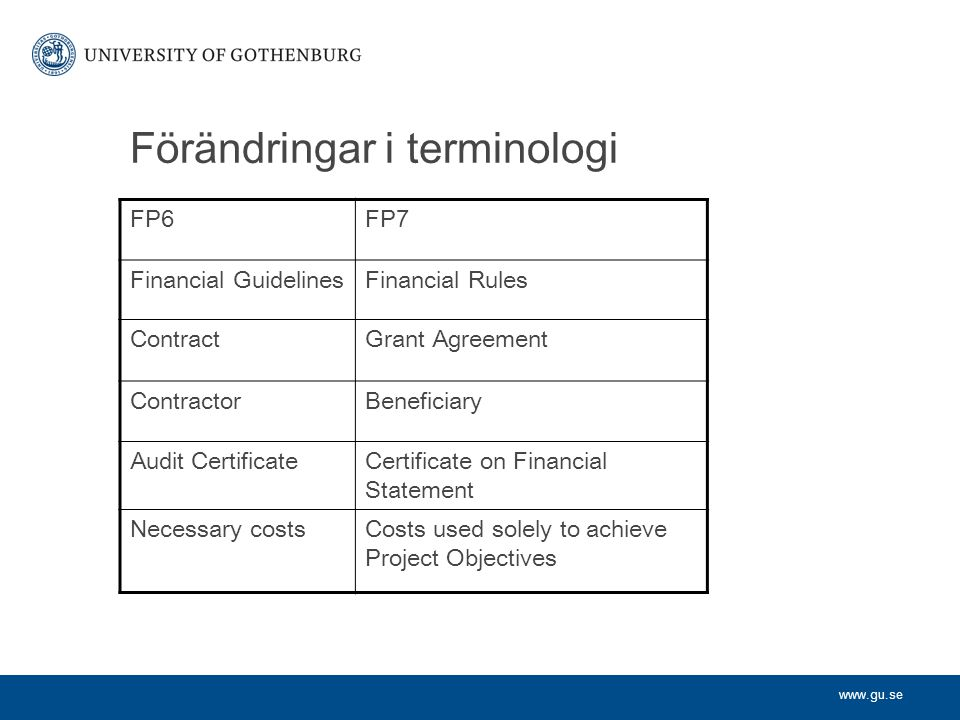 www.gu.se Förändringar i terminologi FP6FP7 Financial GuidelinesFinancial Rules ContractGrant Agreement ContractorBeneficiary Audit CertificateCertificate on Financial Statement Necessary costsCosts used solely to achieve Project Objectives