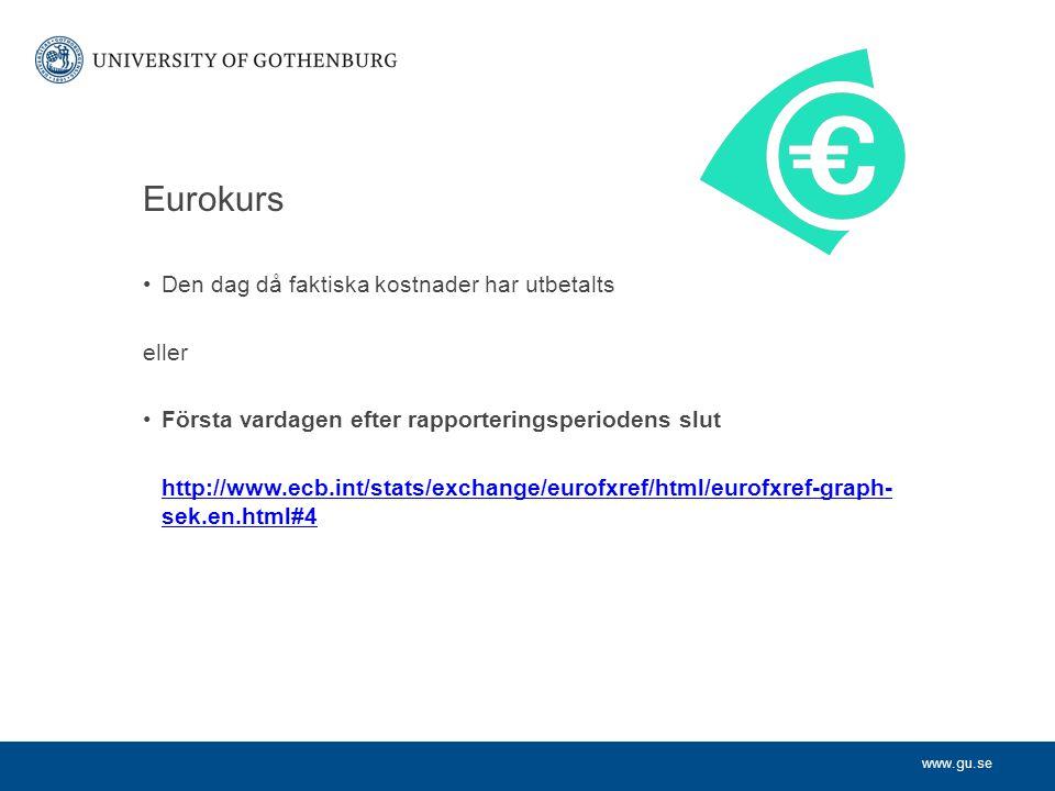 www.gu.se Eurokurs Den dag då faktiska kostnader har utbetalts eller Första vardagen efter rapporteringsperiodens slut http://www.ecb.int/stats/exchange/eurofxref/html/eurofxref-graph- sek.en.html#4
