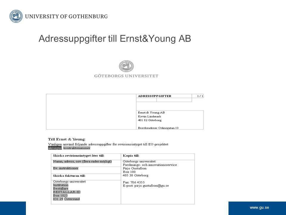 www.gu.se Adressuppgifter till Ernst&Young AB