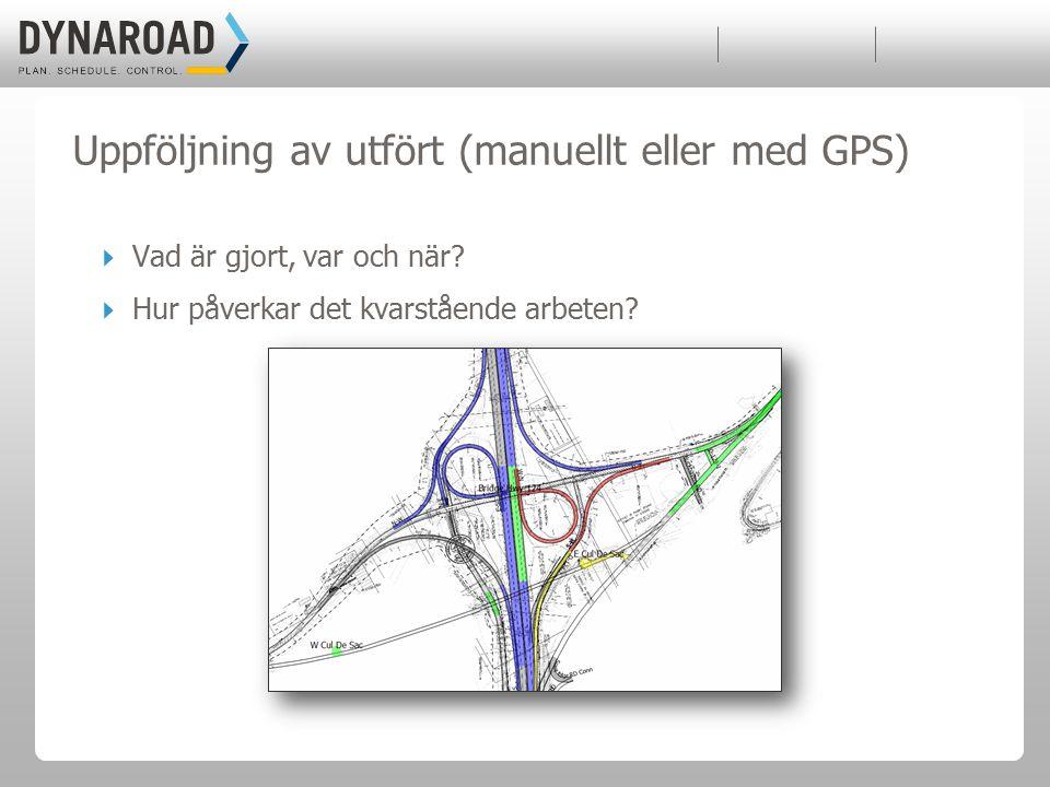 Uppföljning av utfört (manuellt eller med GPS)  Vad är gjort, var och när.